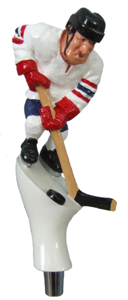 hockey player beer tap handle