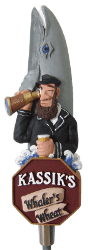 A custom beer tap handle with a sailor on it.